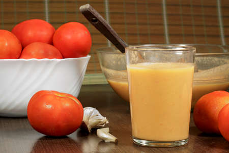 andalusian cuisine: Glass of gazpacho, traditional Andalusian recipe
