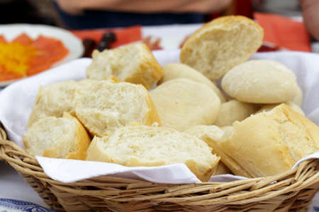 bread: Bread basket with several kinds of white bread