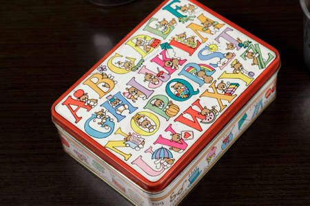 metal box: Small metal box with drawings of toy bears Stock Photo
