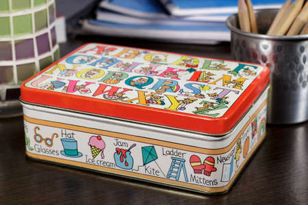 vocabulary: Small box decorated with drawings for childhood vocabulary learning