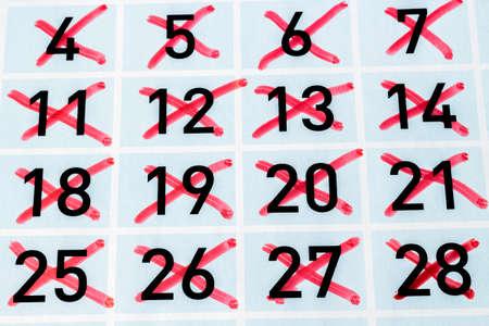 strikethrough: Calendar page with all strikethrough days