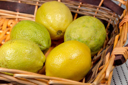 citric: Lemons into a wicker basket