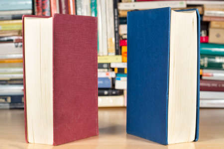 Two books with red and blue covers in front of other books