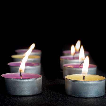 vax: Scented candles of different fragrances disposed in rows