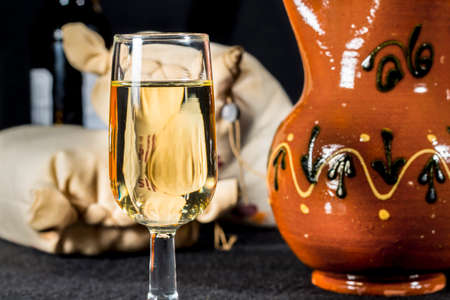 whine: Glass of Manzanilla wine