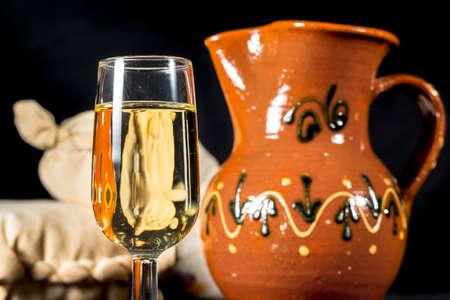 whine: Glass of fino sherry. Manzanilla wine