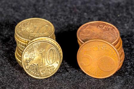 euro coins: Ten and five cent euro coins