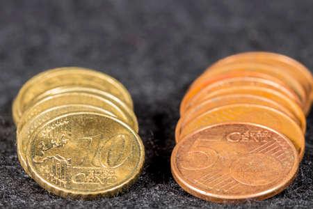 euro coins: Five and ten cent euro coins Stock Photo