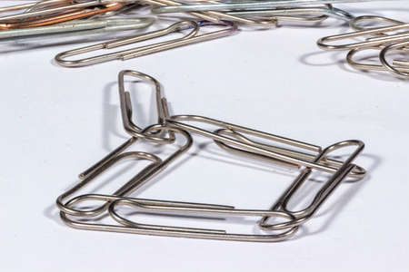 interlocked: Several interlocked paper clips Stock Photo