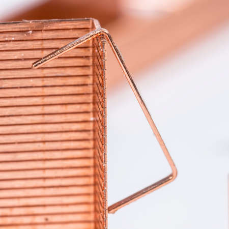 staple: Detail view of copper staple