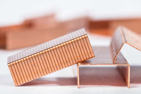 metal fastener: Paper staples made of copper