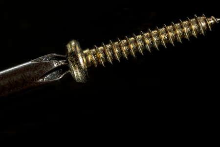 metal fastener: Screwing a golden screw, on black background