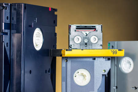 entrepreneurial: Analog and first digital professional video tapes of different formats and sizes