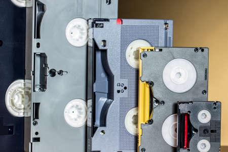 entrepreneurial: Evolution from analog to first digital professional video tapes Stock Photo