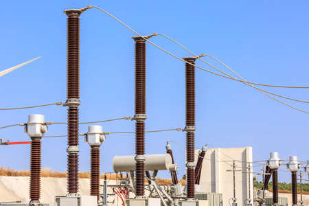 High voltage transformers in the electrical substation of a wind farm Stok Fotoğraf - 69554782
