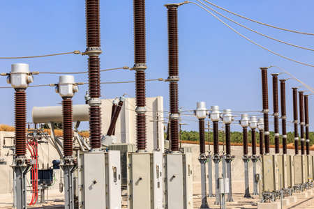 infrastructures: Lightning arresters and other elements in the electrical substation of a wind farm Stock Photo