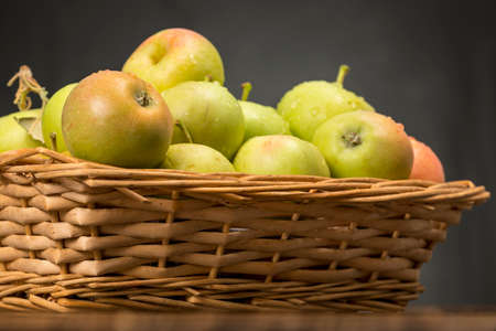 Wicker basket full of small apples. Traditional variety of apples originating from Andalusia