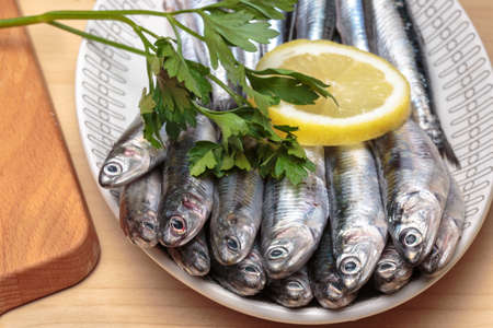 engraulis encrasicolus: Oval dish full of raw anchovies with lemon slices and parsley. Mediterranean food Stock Photo