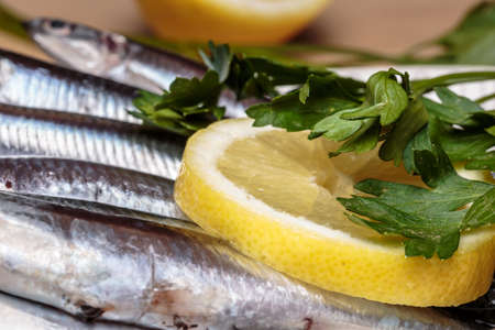 Detail of parsley leaves and lemon slice over a heap of raw fresh anchovies. Seafood Stock Photo