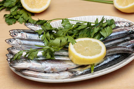 Dish of raw boquerones, Mediterranean anchovies typical of Andalusian gastronomy. Healthy food.