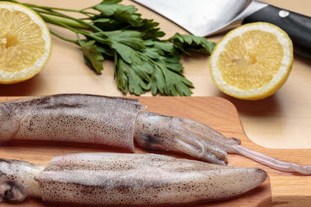 Fresh squids  in front of a sliced lemon, parsley and a knife. Cooking cuttlefishes Stock Photo