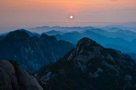Huangshan sunset photo