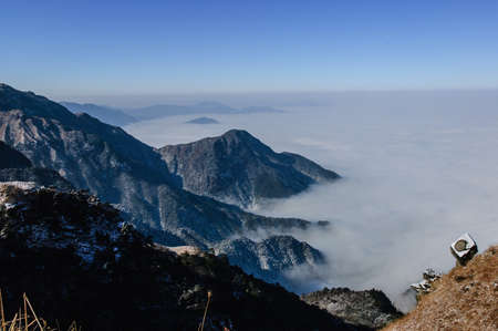 very cold: In winter, snow Wugongshan full, very cold. Stock Photo