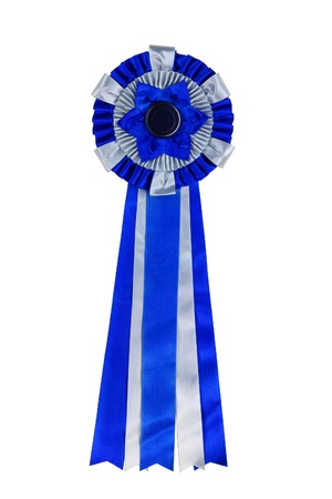 Blue ribbon award  Rosette of blue and silver satin fabric with a ribbon tail isolated on white