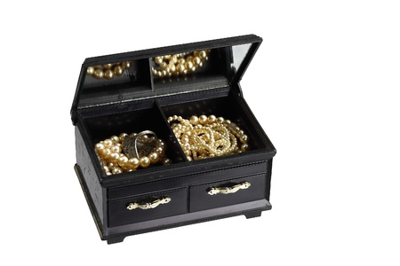 frippery: Treasure chest. Box with a cheap imitation pearls jewelry reflected in mirror isolated on white