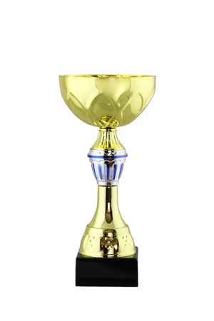 Trophy cup award for the winner  Gold and silver looking metallic bowl on the stem pedestal isolated on white