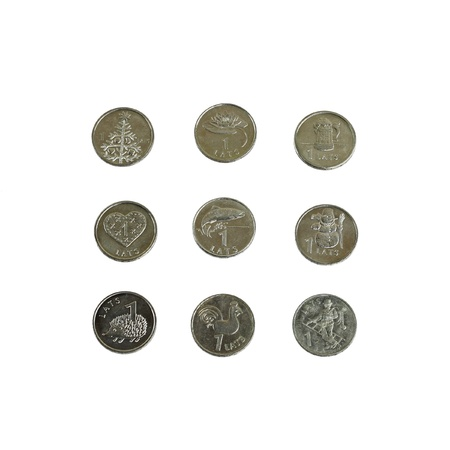 an obverse: Set of Latvian one lat coins with variety of dimple on the obverse