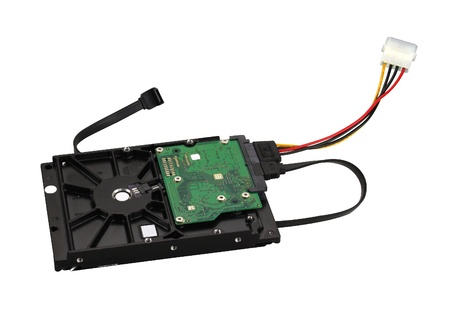 SATA hard drive with data and power cables isolated photo