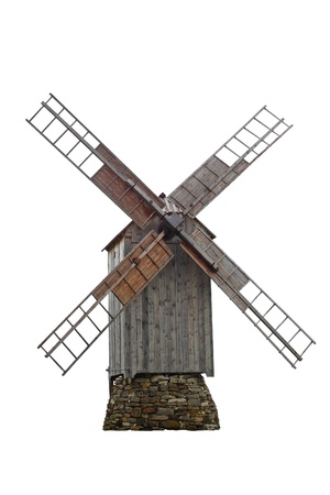 Old wooden windmill isolated on white photo