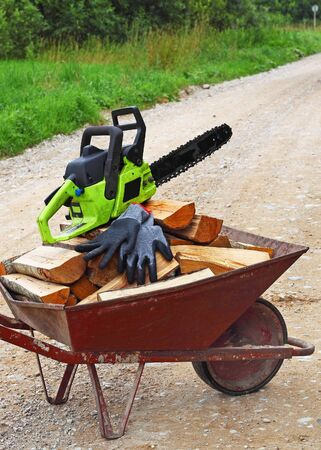 Wheelbarrow with woods and with chainsaw and gloves on it photo