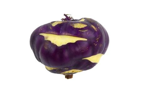 Smiling purple kohlrabi isolated on white Stock Photo - 15934690