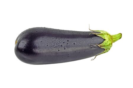 Purple eggplant covered with water drops isolated on white Stock Photo - 15934706