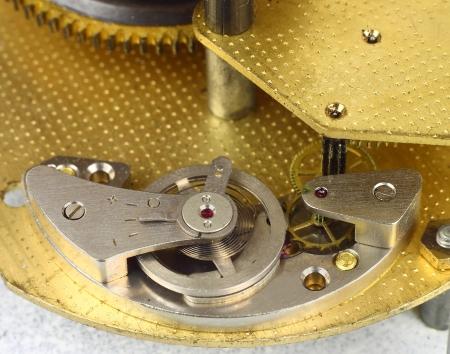 Clockwork details, pinions and wheels macro closeup Stock Photo - 16113716