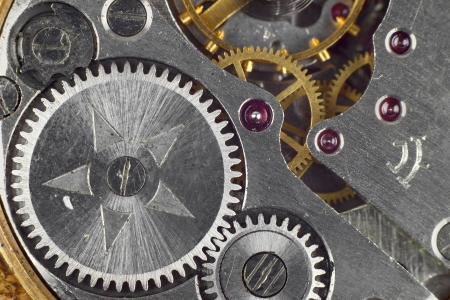 Clockwork details, pinions and wheels macro closeup wallpaper Stock Photo - 16113681