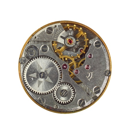 Clockwork details, pinions and wheels macro closeup isolated on white Stock Photo - 16113720