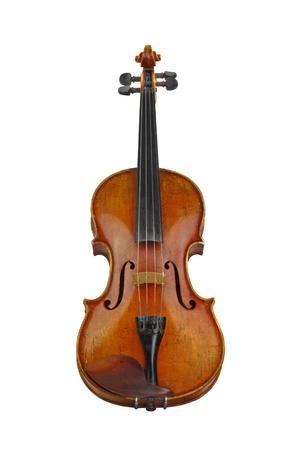 violines: Violín viejo aislado en blanco Foto de archivo