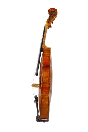Profile view of old violin isolated on white Stock Photo