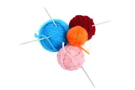 Balls of colorful wool yarn with knitting needles isolated on white Stock Photo - 16113709