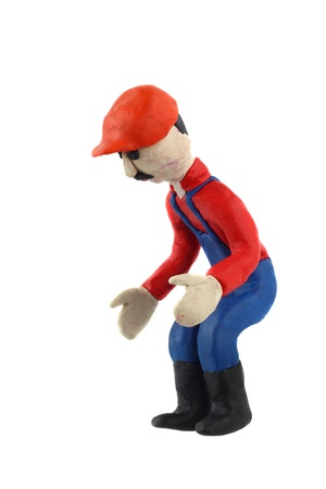 Plasticine figurine of a man in working clothes