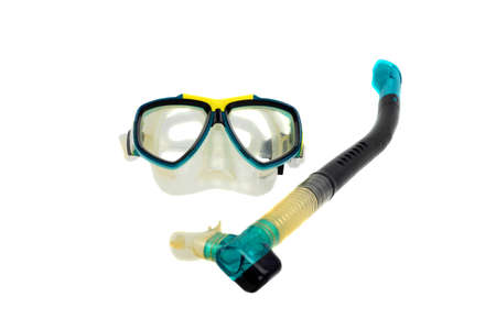 Snorkel and waterproof mask isolated on white background Stock Photo