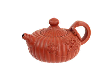 Traditional chinese clay teapot isolated on white background