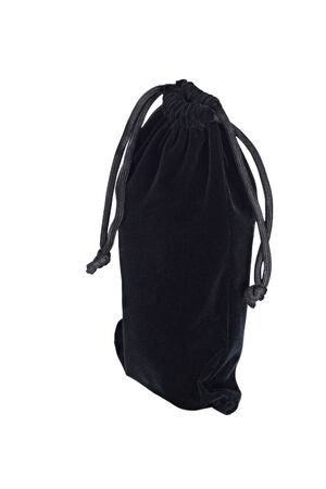 tight filled: Black textured cloth sack with drawstrings isolated on white background