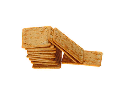 galettes: Galettes   dry bisquits   in stack isolated on white background Stock Photo