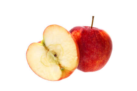 Whole red apple and a half together isolated on white background Stock Photo