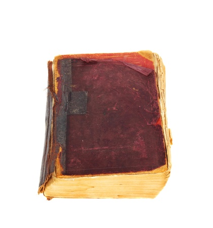 Vintage book in a bad condition isolated on white background Stock Photo