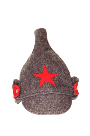Vintage Budenovka  wool cavalry helmet  used in old soviet Red army  Isolated on white background